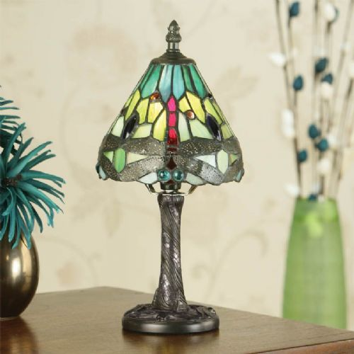 Dragonfly Green Mini Lamp (Arts & Crafts, Traditional, Mini Lamps) TMIN12 (Tiffany style)